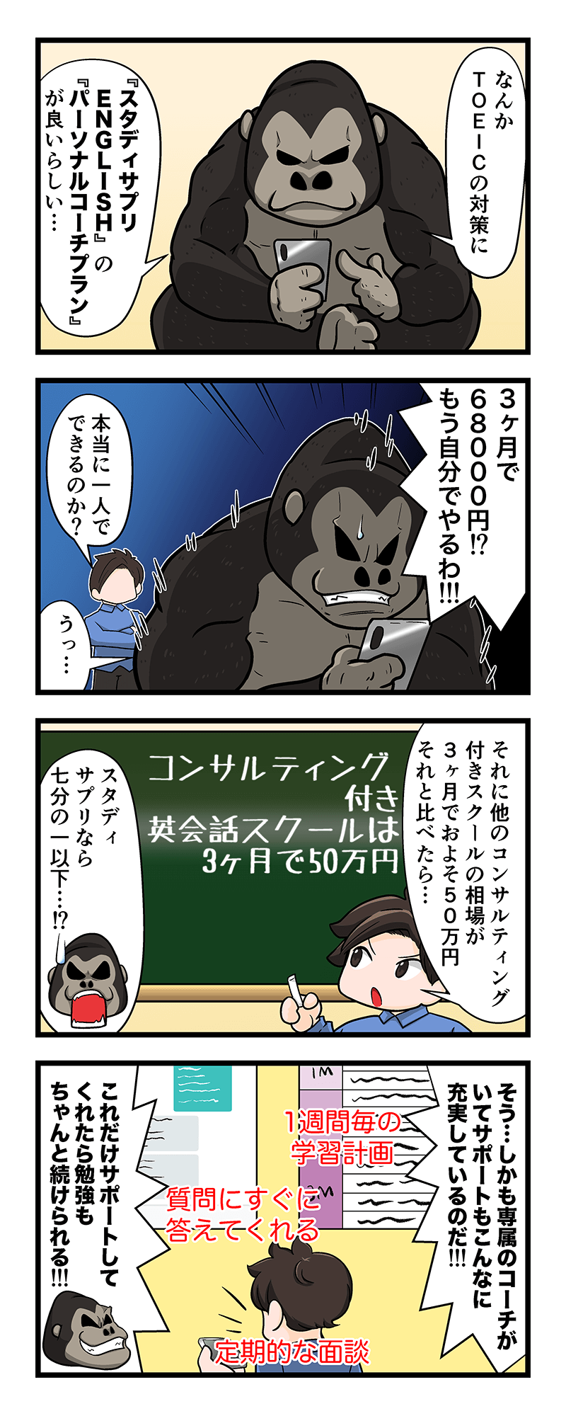 スタディサプリ(TOEICパーソナルコーチ)の4コマ漫画