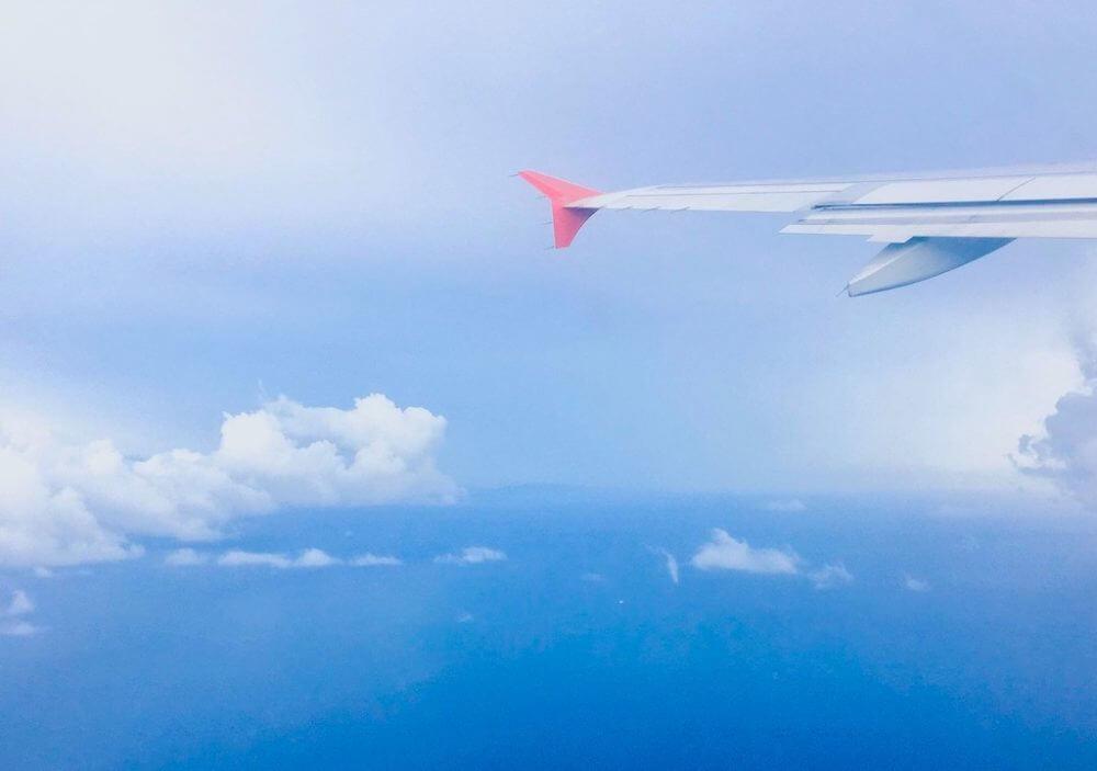 フィリピン留学に向かう飛行機に乗っている